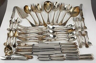 Christofle Perles Silverplate Flatware Set 56 Pieces Nice Set