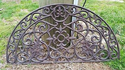 "Vintage Large Cast Iron Window Grate Half Circle Art Deco Garden Art 27.5"" x 14"""