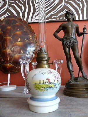 Superb antique French Oil Lamp Paris china 1900 Large Complete #2