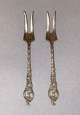 2 Vintage Ornate Sterling Silver Small Pickle Hors d'oeuvre Forks marked NORWAY
