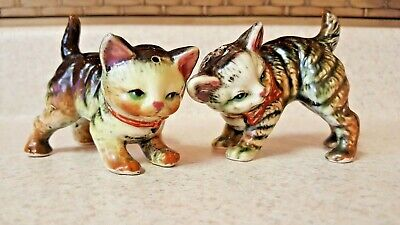Vintage Tabby Cat Kitten Salt & Pepper Shakers JAPAN Cork Stoppers