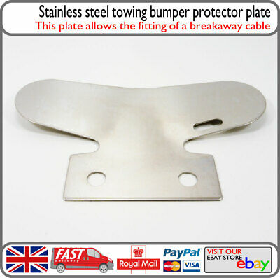 Stainless Steel Towing Bumper Protector Tow Bar Bump Stop Plate w/ Breakaway Eye