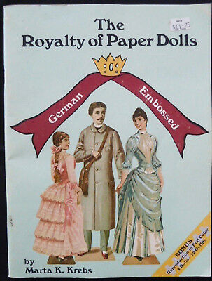 Royalty of Paper Dolls Book by Marta Krebs German Embossed 4 Dolls 12 Outfits