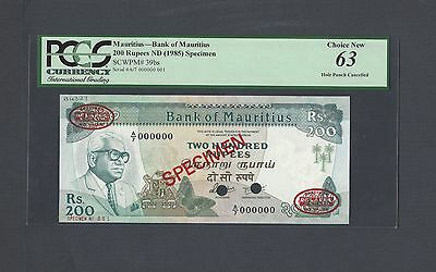Mauritius 200 Rupees ND(1985) P39bs Specimen TDLR N001 Uncirculated