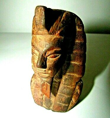 "Vintage Pharaoh Statue King Of Wood ""Tut Ankh Amoun"" Hand Carved Old & Beautiful"