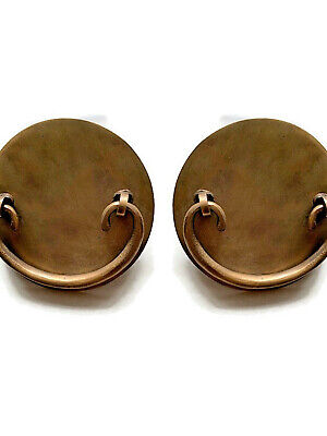 "2 oval Asian shape pulls handle antique solid brass vintage 3.1/2 "" old style B"