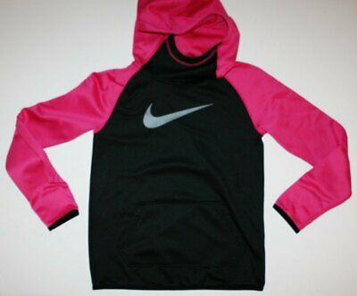 NIKE DRI-FIT Girls Hoodie in bright pink and black Size Large Excellent
