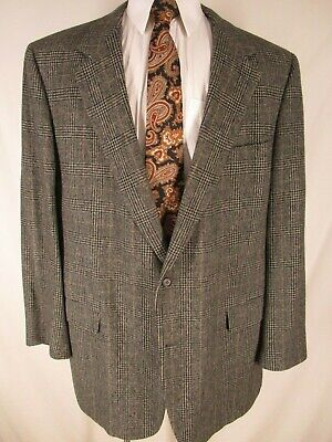 Brooks Brothers Mens Grey Glen Check 2 Btn Camelhair Blazer 50XL USA Made