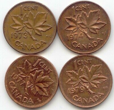 Canada 1973 1974 1977 1979 One Cent Canadian Pennies Penny 1c EXACT SET