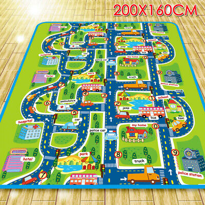 2x1.6m Waterproof Children's Mats Baby Kids Rug CITY Carpet Car Play Mat Track