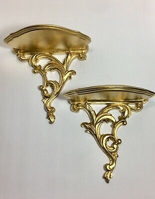 """Vintage Pair of Italian Rococo ornate hand carved gold gilt wood wall shelf 9"""""""