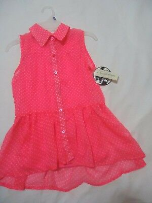 New! Bobbie Brooks Girls Two In One Hot Pink & White Polka Dot Top