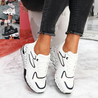 Womens Ladies Lace Up Chunky Trainers Running Party Sneakers Women Shoes Size