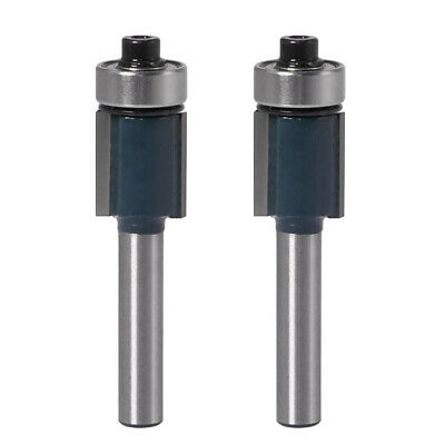 2x Double Flute Straight Router Bit Flush Trim Router Cutter - 1/4 inch Shank