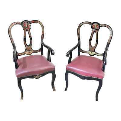 19th Century French Boulle Louis XV Style Pair of antique Armchair