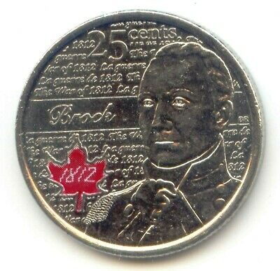 Canada 2012 Canadian Quarter 25c Sir Isaac BROCK War of 1812 Coloured EXACT COIN