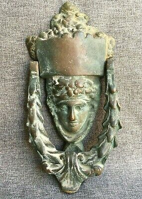 Antique french Empire style door knocker made of bronze 19th century caryatid