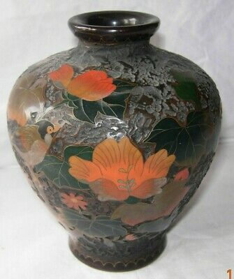 Japanese Meiji period Tree bark vase totai shippo cloisonné on porcelain vase