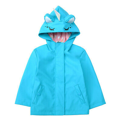Kids Girls' Waterproof Lightweight Rubber Raincoat Windbreaker Rain Jacket