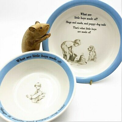 """2 pce Ironestone Plate & Bowl, """"What Are Little Boys Made Of?.."""",  English 2008"""
