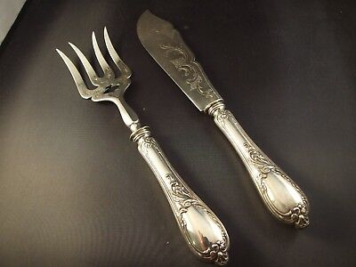 19th CENTURY ANTIQUE AUSTRO-HUNGARIAN SILVER 800  FISH SERVERS SET RARE