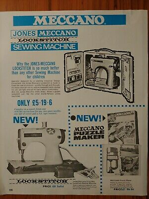 1967 Vintage PAPER PRINT AD MECCANO Jones lockstitch sewing machine puzzle maker