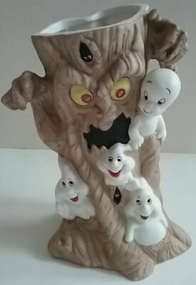 Casper the Friendly Ghost Porcelain Tea Lite Candle Light Holder Scary Tree Boo!