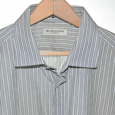 Burberry Size 17.5  White Grey Stripe Long Sleeve Button Front Mens Shirt