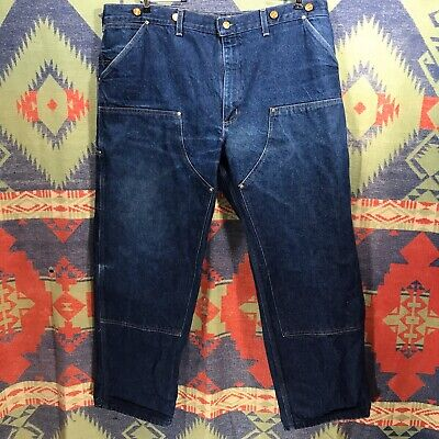 Vintage 80s CARHARTT DENIM DOUBLE KNEE LOGGER JEANS MADE IN USA 42 X 30