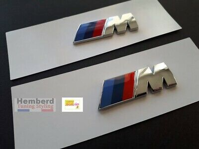 BMW ///M Performance Autocollants pour AILES  2x Logo Chrome Emblème Motorsport