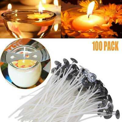 UK 15cm Long 100 x Pre Waxed Wicks For Home Candle Making Cotton With Sustainers