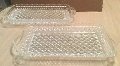Lot of 2 Clear Glass Relish/Candy Dishes. Rectangular Trays. Scalloped Edges 8x4