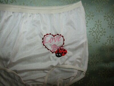 NOS Vintage Underscore White Nylon Granny Panties Womens Size 5 Love Lady Bug