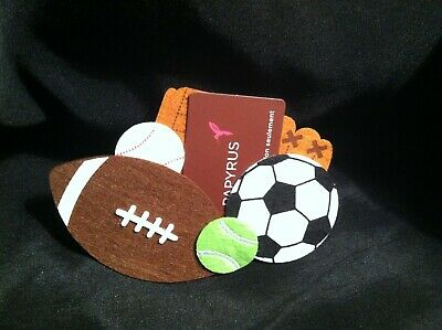 Papayrus Gift Card Holders Lot of 3 Sports Equipment Design Felt Fabric NEW