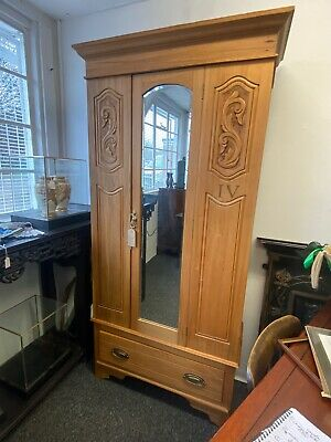 Vintage Edwardian Satinwood Single Wardrobe