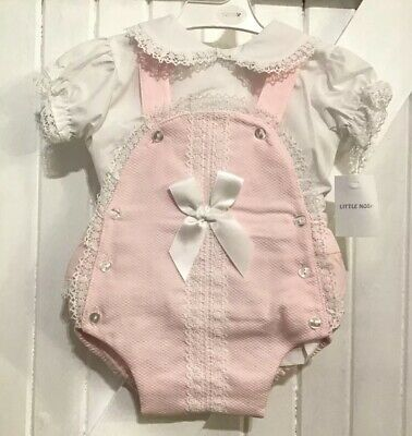 Girls Age 2-3 Years Dungaree Jam Set Pink White Spanish Design traditional Bows