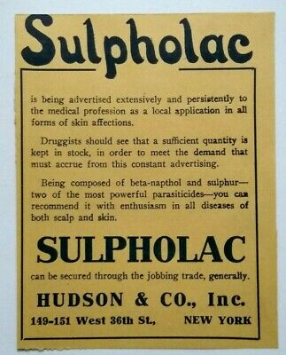 1914 Sulpholac Medicine Pharmaceutical Vintage Print Advertising