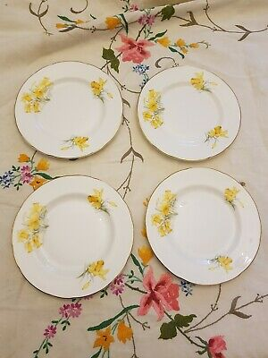 Set of four Vintage bone china 6 inch yellow Daffodils side plates.