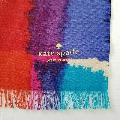 """Kate Spade New York Multi-Color Abstract Art Long Scarf Shawl Wrap 30"""" x 72"""""""