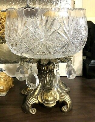 Vintage Glass Bowl with Brass Base