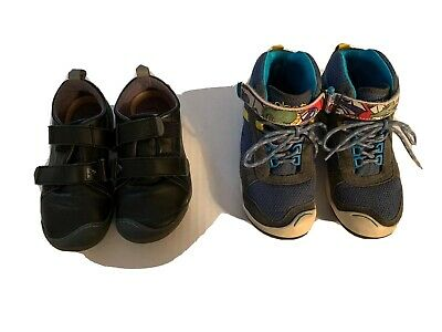2 Pairs Of Plae Boys Size 11.5 & 12 Blue Black Sneakers Strap Kids Tennis Shoes