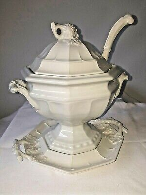 Red Cliff Vintage Grape Ironstone Soup Tureen with Ladle and Underplate