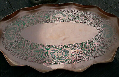 Antique Arts & Crafts Art Nouveau Deco Oval Copper Tray maybe J & F Pool Hayle