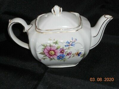 "Small ""Sadler"" China Pink & Blue Wild Flower Teapot W/Gold Trim Made In England"