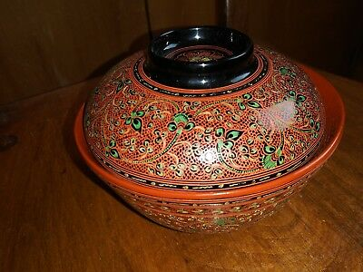 China Carved lacquer flowers bowl with cover漆雕花卉有盖 木 碗
