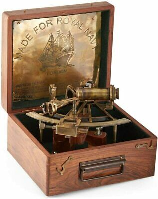 "Nautical 8"" Maritime Antique Brass Sextant Marine Captain Sextant W/ Wooden Box"