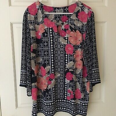 JM Collection Womens Top (Size XL) Tunic Blue Floral Geometric and Embellished