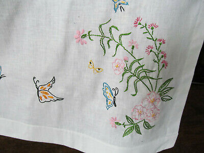 """Nice Vintage Linen Embroidered Tablecloth Butterflies Flowers 54"""" x 41"""" Whtie D"""