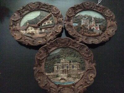 Hand-carved and Painted Wooden Wall Plaque Set (of 3)