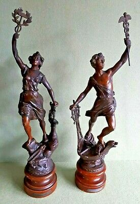 Pair Antique French Spelter Figure Statues depicting Naval & Industrial Themes